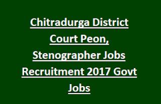 Chitradurga District Court Peon, Stenographer Jobs Recruitment Notification 2017 Govt Jobs Online