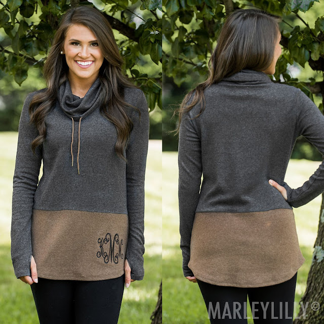 black and brown monogrammed cowl neck tunic with leggings