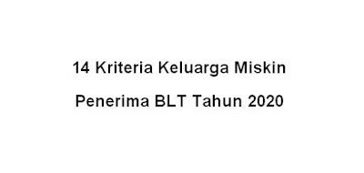 kriteria KK penerima BLT tahun 2020