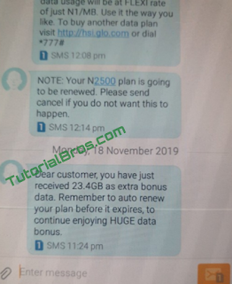 As the about image shows, the user simply renewed his Glo monthly data plans and he got 23.4GB extra data plus