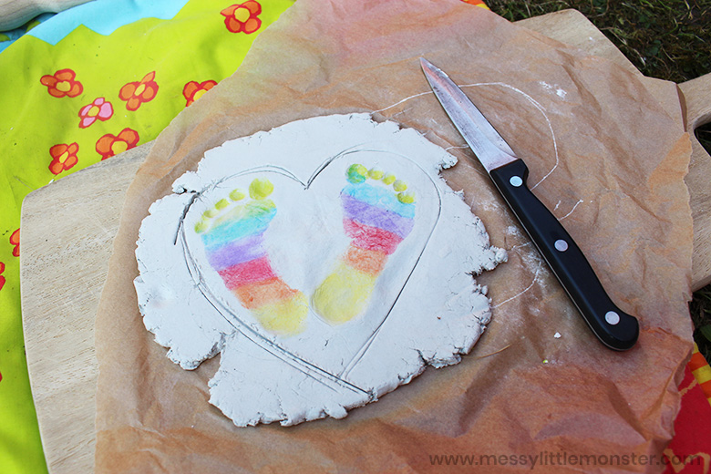 baby footprint clay craft
