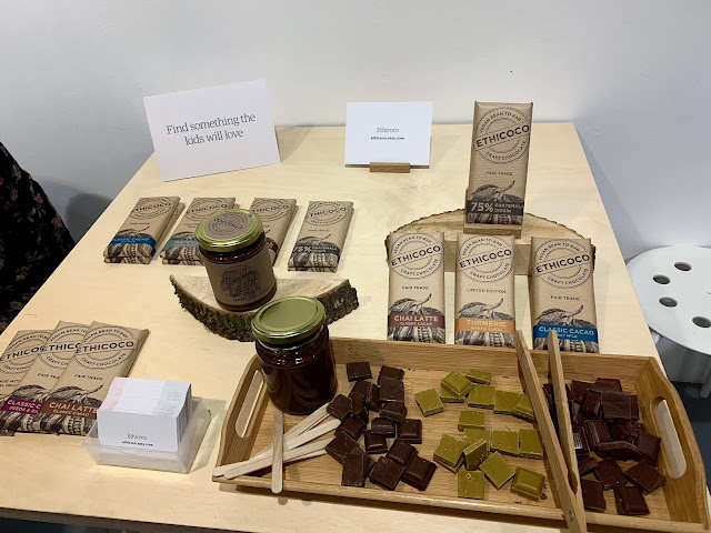 A display of vegan chocolate from Ethicoco including milk, white (with tumeric) and dark. Available from the Etsy shop