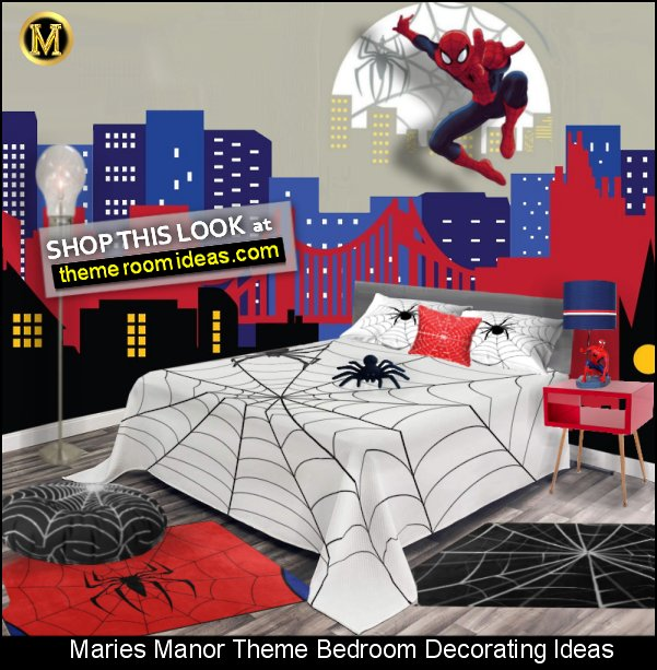 Spiderman Wall Mural  City Skyline wall decal  Spiderman table lamp  Spider Web Area Rug