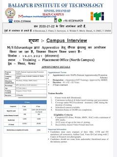 ITI Apprentice Campus Placement For Eduvantage Pvt Ltd. at Sindri, Jharkhand