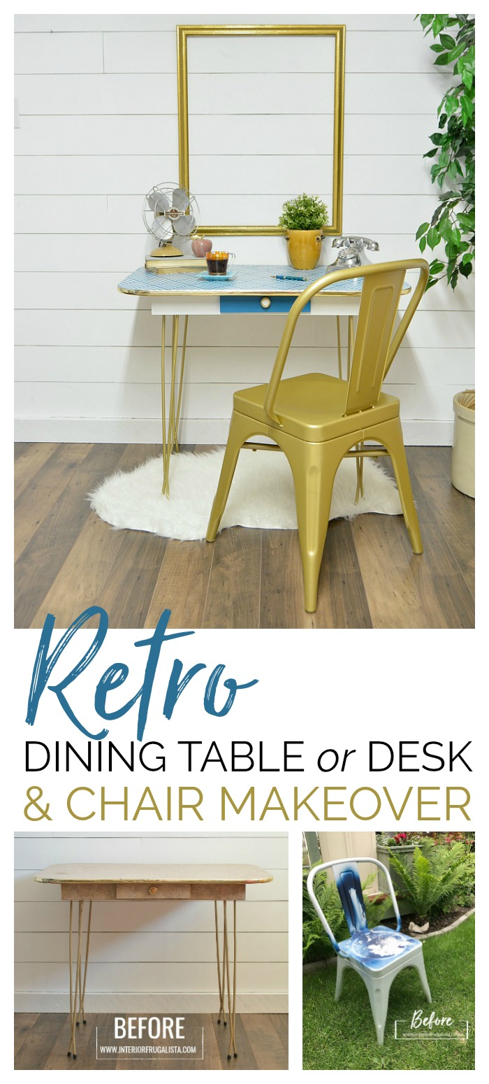 Retro Arborite Dining Table or Desk and Metal Chair Makeover