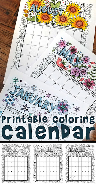 2019 printable coloring calendar