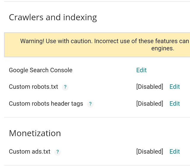 Monetization settings in Blogger