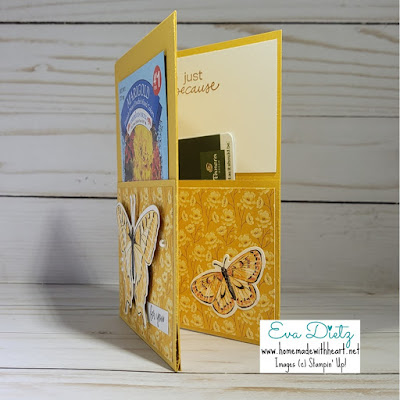 Inner of Bumblebee Seed Pocket Card with small butterfly