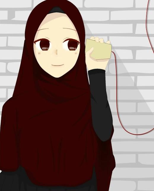 Gambar kartun muslimah cantik banget imut Solehah