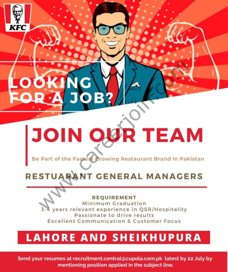recruitment.central@cupola.com.pk - KFC Pakistan Jobs 2021 in Pakistan