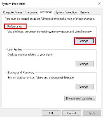 Performance Settings in Windows 10