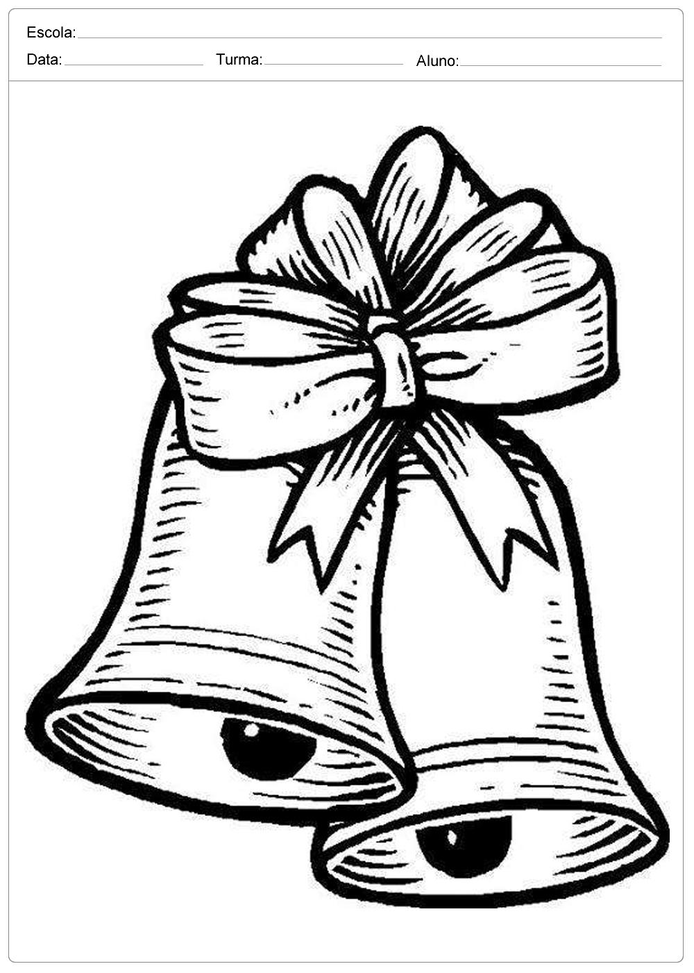 desenhos de sinos de natal para colorir e imprimir sÓ escola