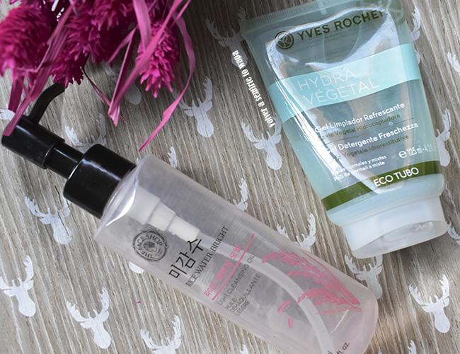 Aceite desmaquillante de The Face Shop y Gel Limpiador Hydra Refrescante de Yves Rocher