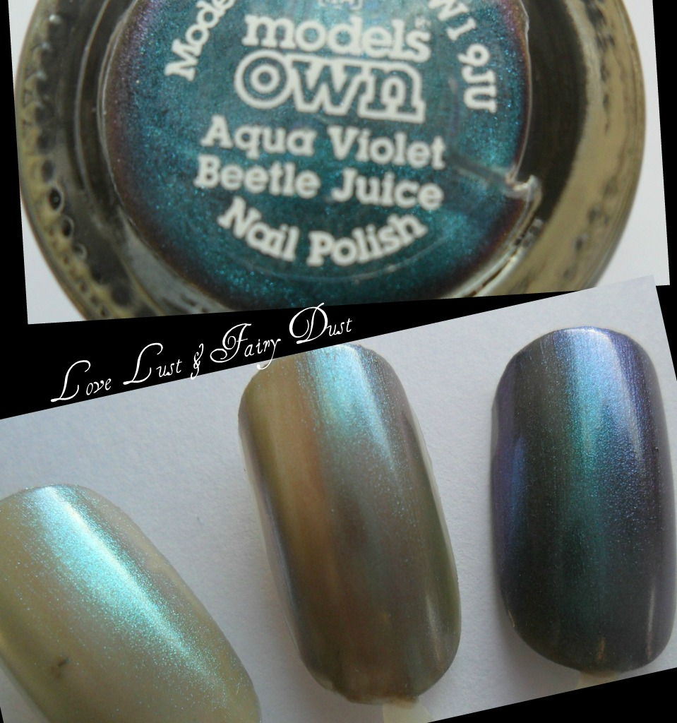 models own beetle juice aqua violet swatch