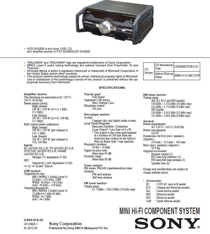 HCDSH2000 FSTSH2000 Diagrama Sony | Reparación Técnica