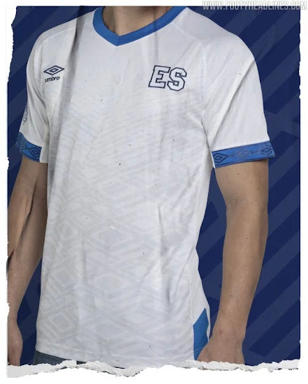 32eb1c92f This is the El Salvador 2019 away jersey by Umbro. Predominantly white ...