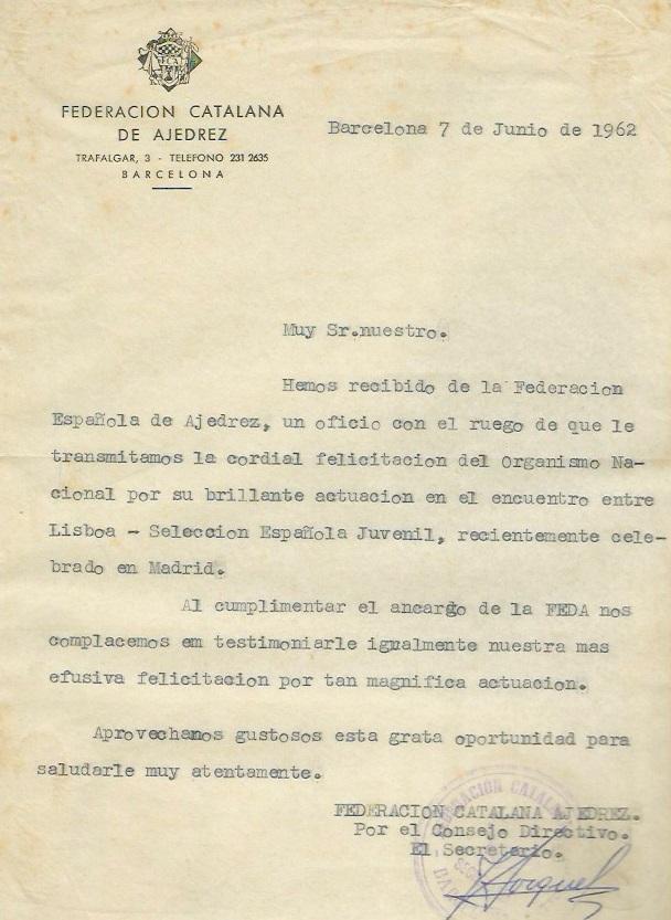 Escrito de la Federación Catalana de Ajedrez, Match Internacional de Ajedrez España-Lisboa - Madrid 1962