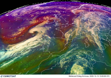This eumetsat Airmass image from 1:00pm shows tonight's system winding up to the southwest of Ireland. It will track north north east, bringing strong winds and heavy rain for most parts with a heightened risk of coastal flooding in southern coastal counties in particular