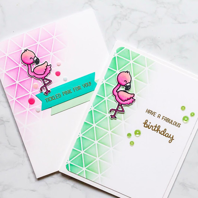 Sunny Studio Stamps: Fabulous Flamingos Customer Birthday Card by Angela
