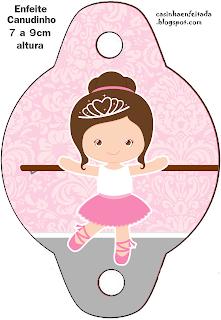Kit Festa Bailarina Marrom e Rosa Para Imprimir