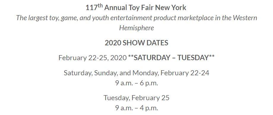Даты проведения выставки игрушек Toy Fair New York 2020 dates