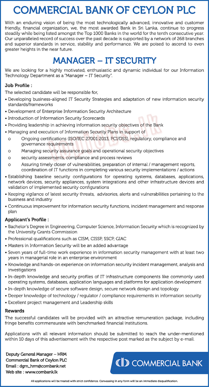 Commercial Bank of Ceylon PLC | Manager - IT Security | Privet Job Vacancies