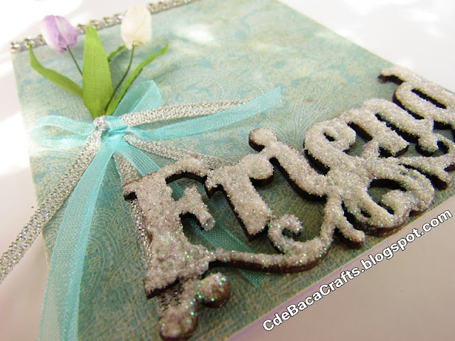 Friendship Handmade Cards with Tulips, Glitter, and Ribbon by CdeBaca Crafts Blog.
