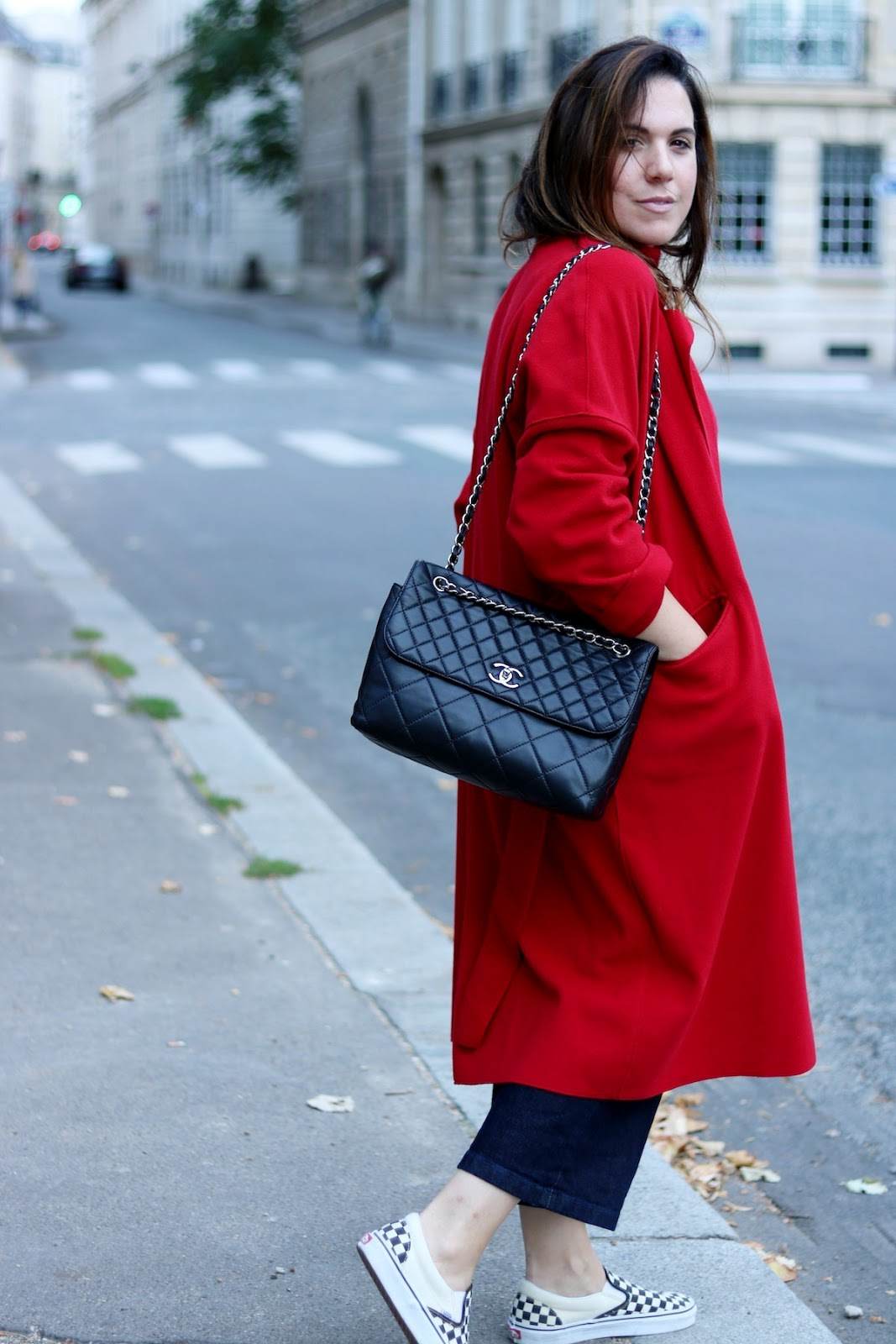 red wool coat outfit itb chanel flap bag vans checkered slip ons outfit paris