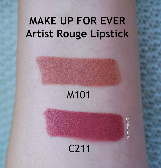 MAKE UP FOR EVER artist rouge lipstick m101 c211 review arm swatch