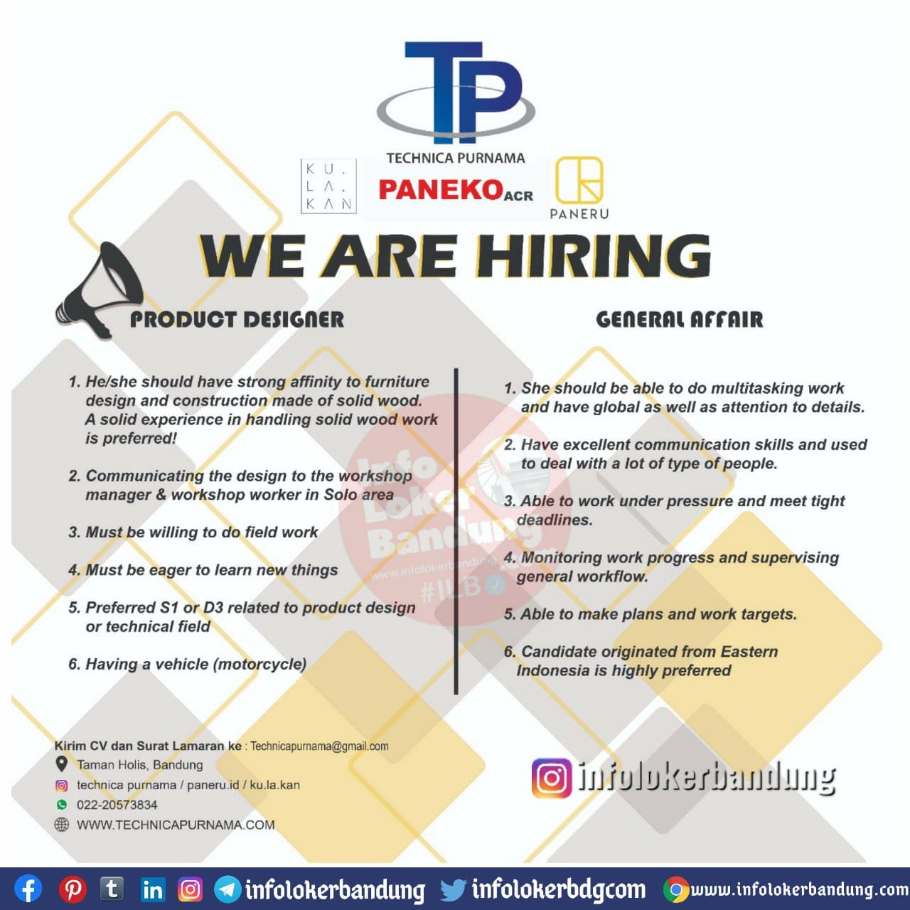 Lowongan Kerja Technica Purnama Bandung Desember 2020