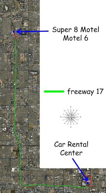 Emplacement de mon motel à Phoenix