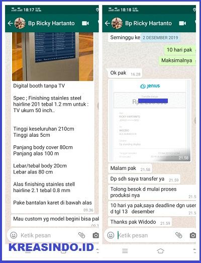 Digital Booth tanpa TV pesanan Bpk Ricky untuk di Office Tower Jakarta Selatan