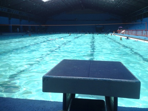 Starting block or platform at Marikina Sports Center