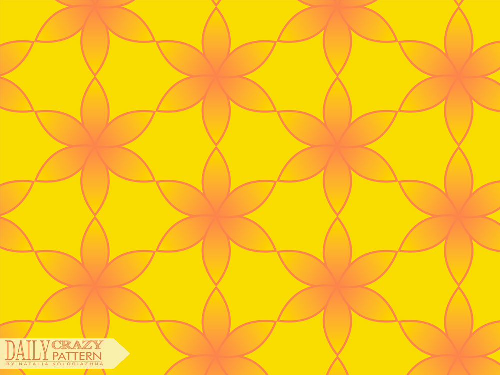 Bright pattern with geometric flowers