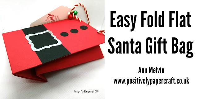 Fold flat santa gift bag #papercrafts, #easygiftbag,