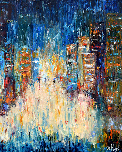 Blue Cityscape Art Street Scene Painting Textured by Debra Hurd