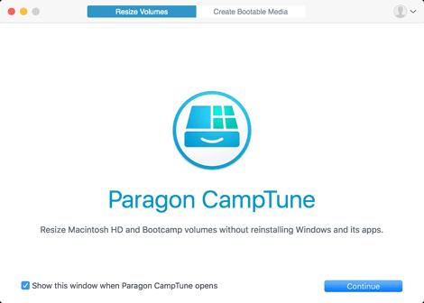 Paragon Camptune Welcome Screen