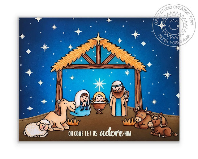 Sunny Studio Blog: Oh Come Let Us Adore Him Starry Night Nativity Slimline Handmade Holiday Card (using Holy Night 4x6 Clear Stamps)