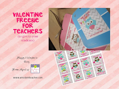 Valentine Freebie for teachers www.amodernteacher.com