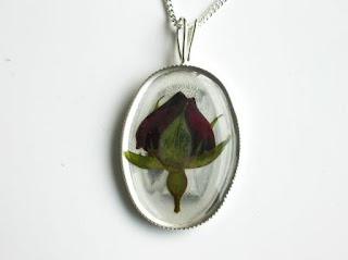 Sterling silver Rose flower bud pendant