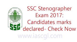 SSC Stenographer exam 2017: Candidates marks declared