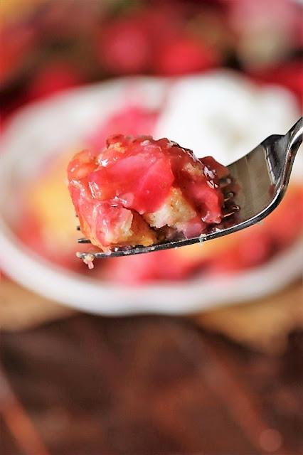 Bite of Strawberry Rhubarb Cobbler Image