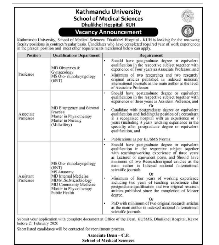 Kathmandu University Dhulikhel Hospital Vacancy for doctors and Nurses