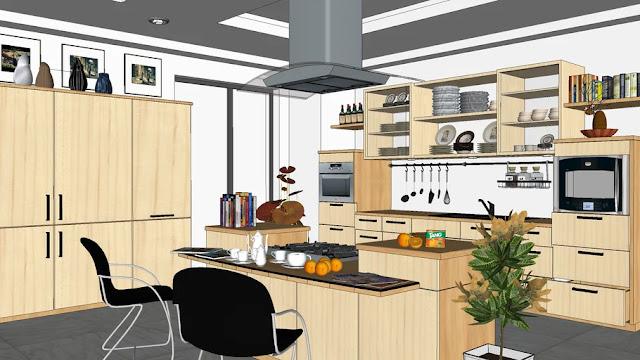 Kitchen Sketchup Interior Scene , 3d free , sketchup models , free 3d models , 3d model free download