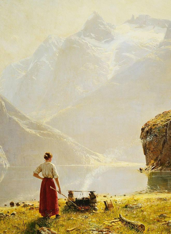 A Summer Day on a Norwegian Fjord - Hans Dahl (1849–1937)