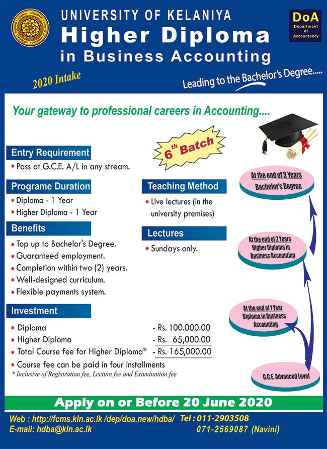 Register; Higher Diploma in Business Accounting leading to Bachelor's Degree - University of Kelaniya