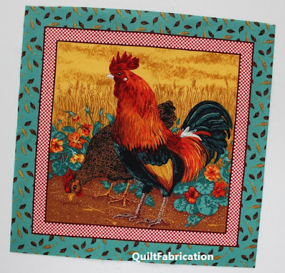 rooster panel for the start of the quilt