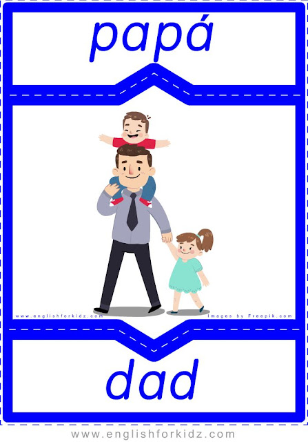 Dad English-Spanish flashcards for the family members topic
