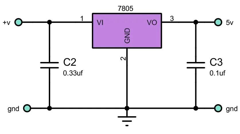 circuit diagram of 7805 voltage regulator