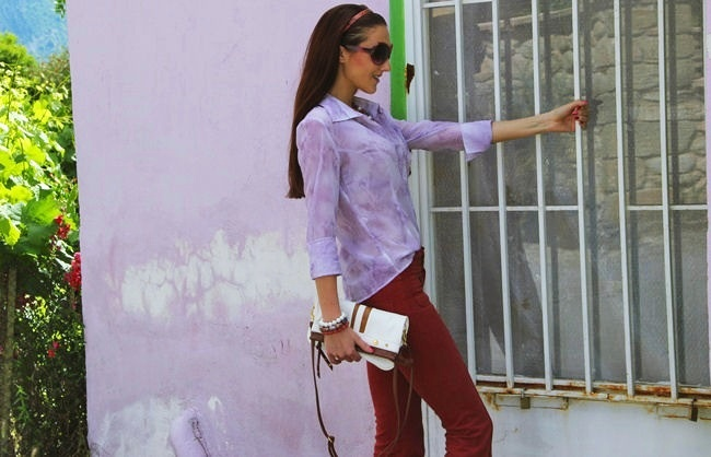 purple lilac sheer woman blouse